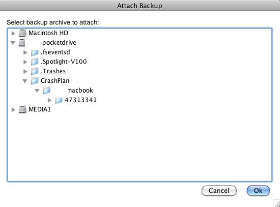 CrashPlan Find Folder