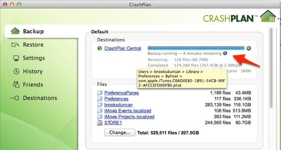 CrashPlan running