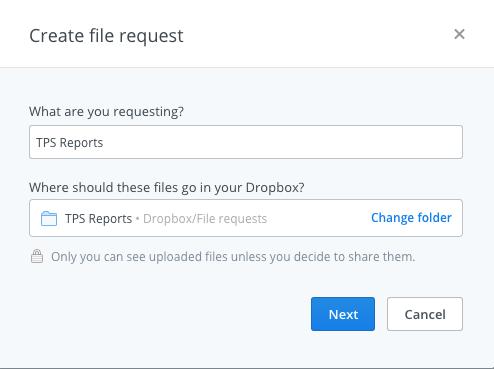 Create Dropbox File Request