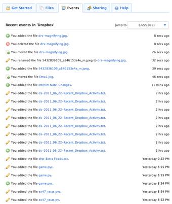 Dropbox Event List