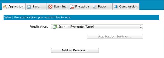 ScanSnap Application Tab