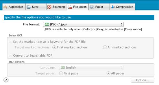 ScanSnap File option tab