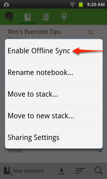 Evernote Enable Offline Sync
