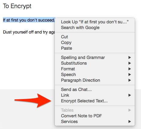 Encrypt Evernote Text