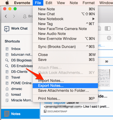 Evernote Export Notes