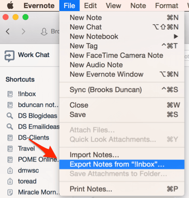 Evernote Export Notebook