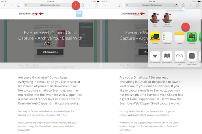 Evernote Web Clipper for iOS - Share