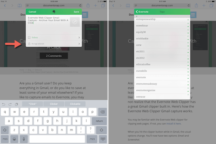 Evernote Web Clipper for iOS - Tag