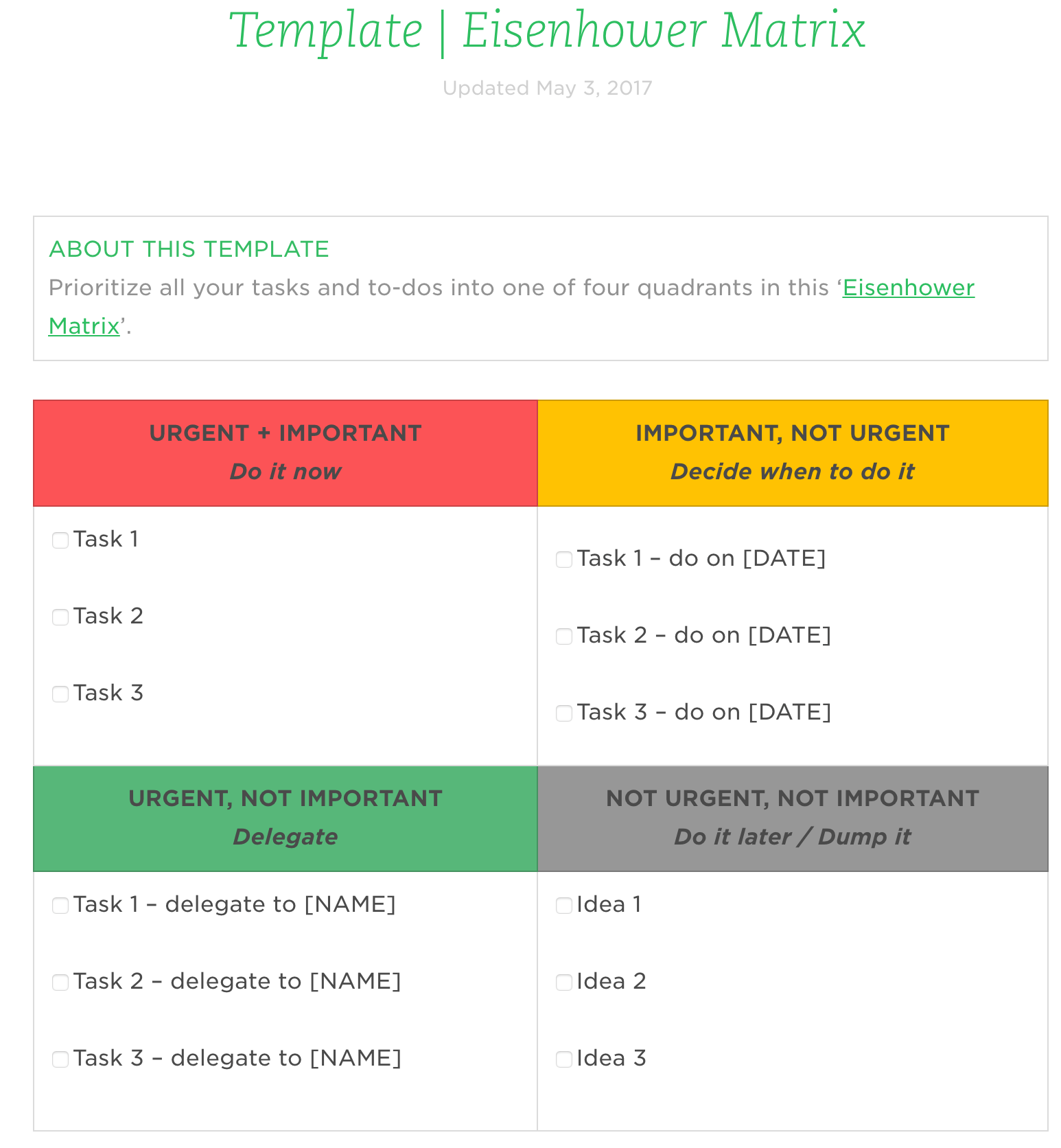 Evernote Templates - Eisenhower Matrix