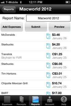 Expensify Mobile Expense Report