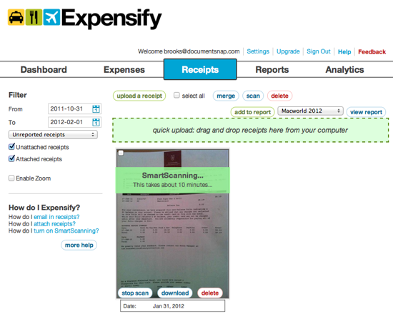 Expensify Web OCR