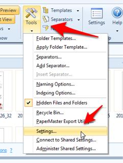 FileCenter Tools Settings
