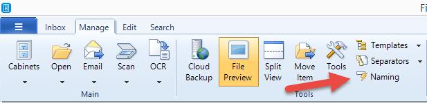 FileCenter Naming Button