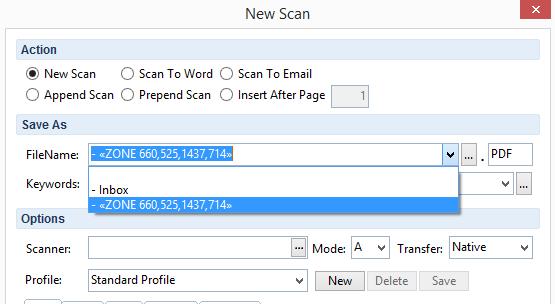 FileCenter Scan Window