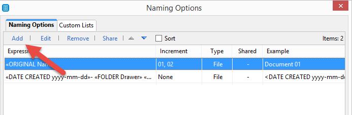 FileCenter Add Rule