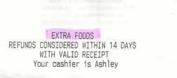 Grocery receipt highlighted