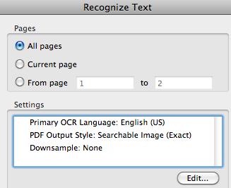 Adobe Acrobat OCR Settings
