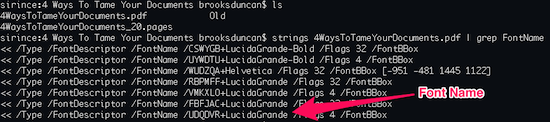 Terminal PDF Fonts Results