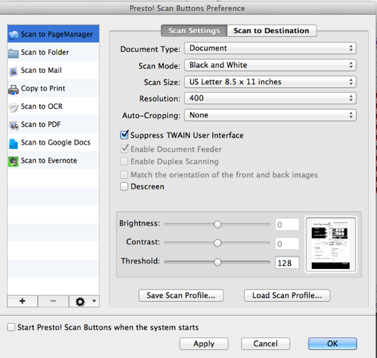 Scan Button Settings