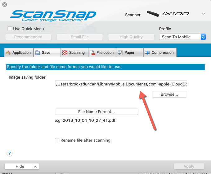 Scan to iCloud Drive - ScanSnap Profile