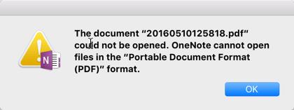 Scan To OneNote For Mac PDF Error
