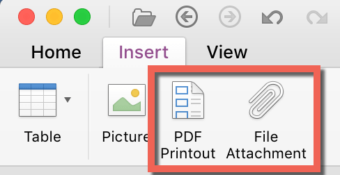 Scan To OneNote For Mac PDF Insert Menu