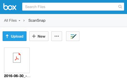 Scan to Box: Saved via ScanSnap Cloud